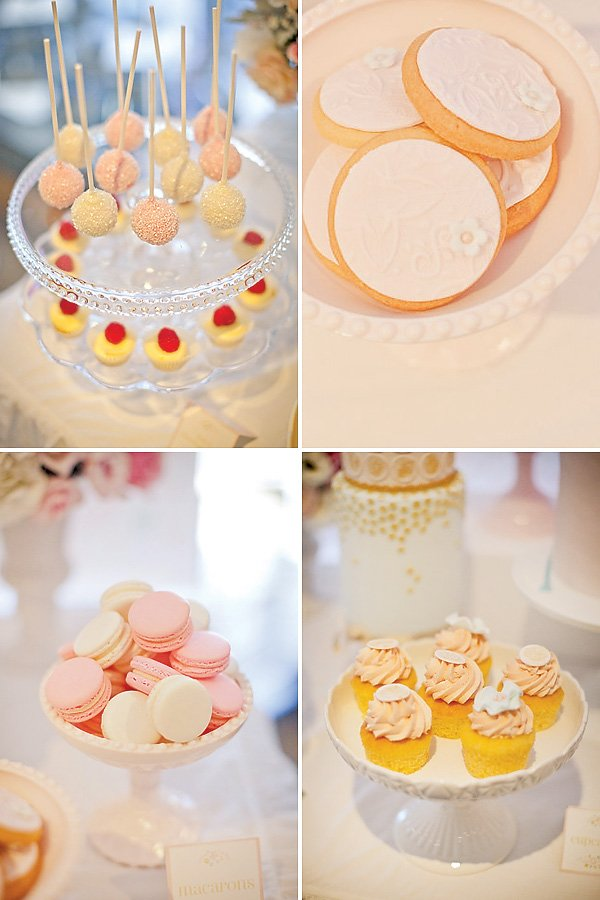 Sparkly cake pops and pink macarons