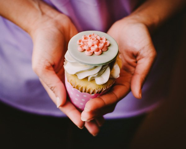 peony cupcake topper