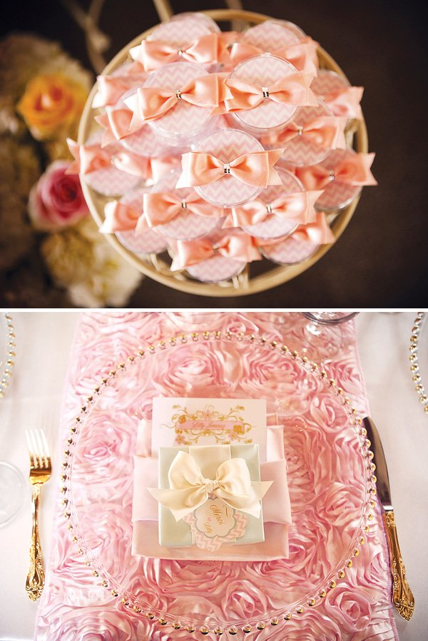 pink bow tie and ruffle table runner