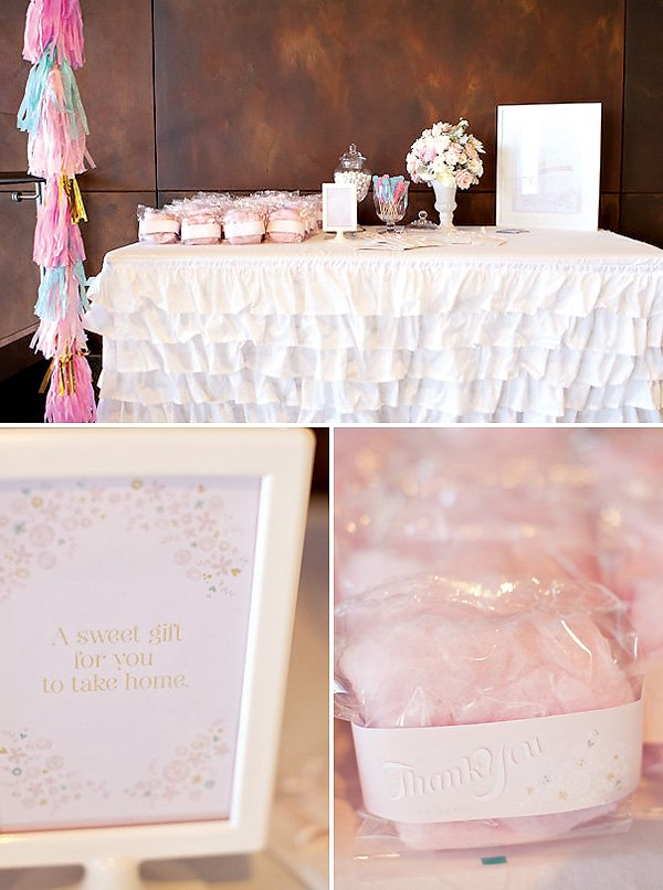 Pink cotton candy party favors
