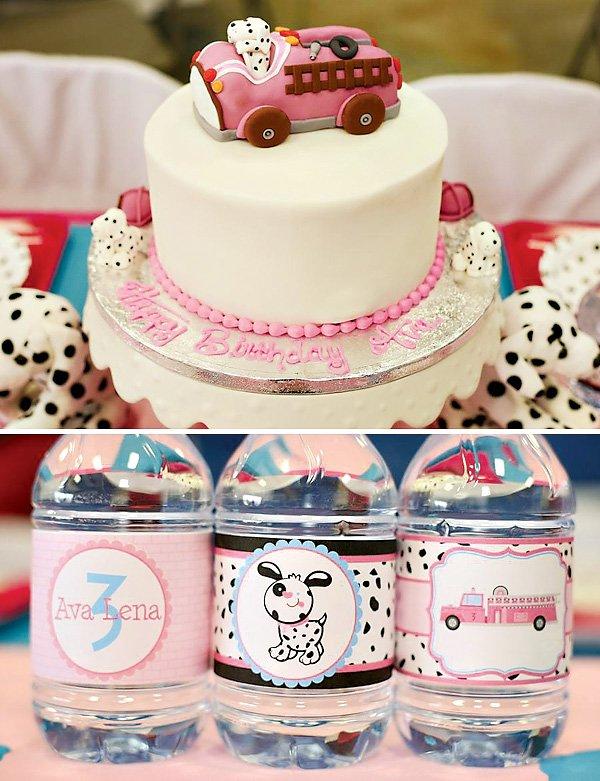 pink fire truck cake