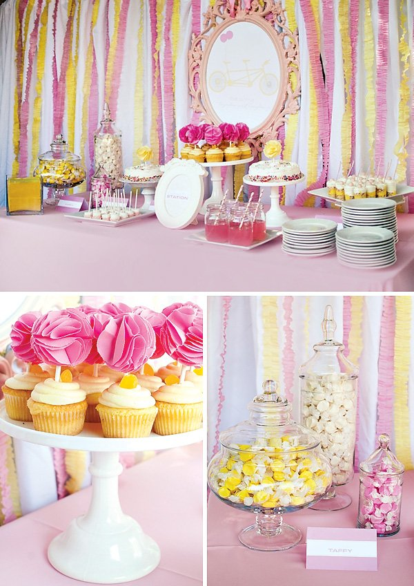 Pink yellow twin girls baby shower hostess with the for Baby shower decoration twins