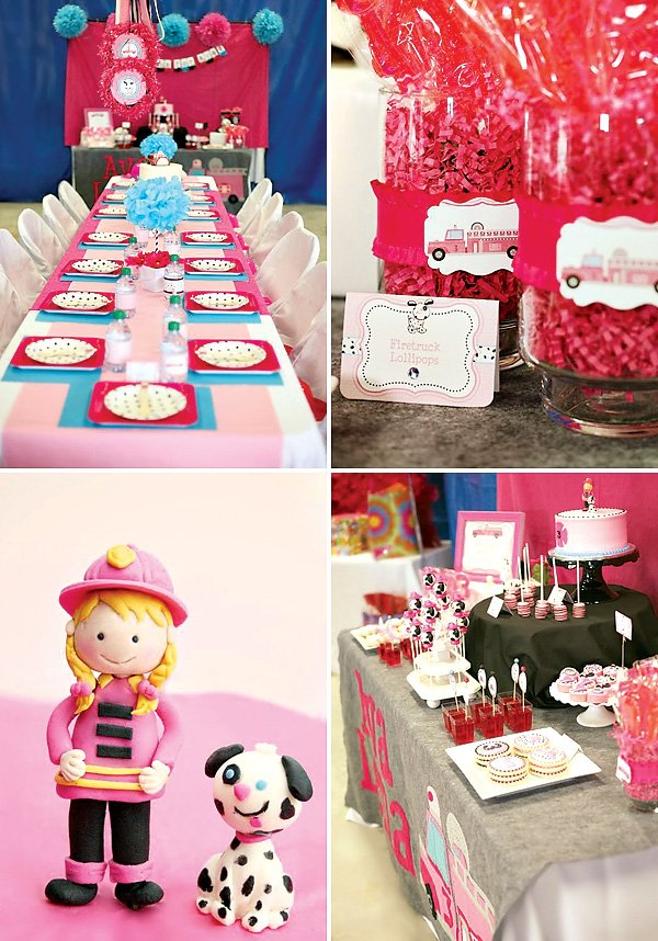 pink fire truck party ideas
