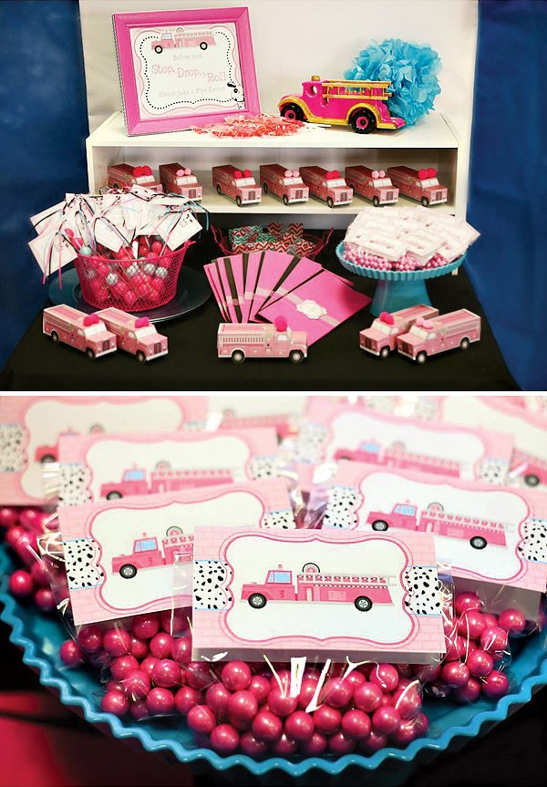 pink firetruck party favors