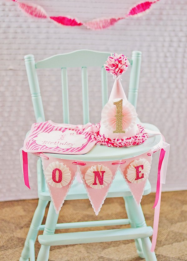 Pink First Birthday Party Hat & Banner