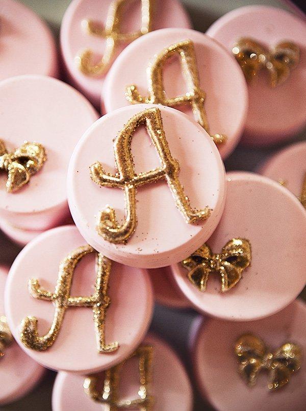 Pretty pink glittery monogram desserts