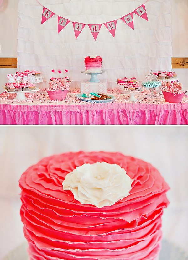 Pink Ombre Dessert Table