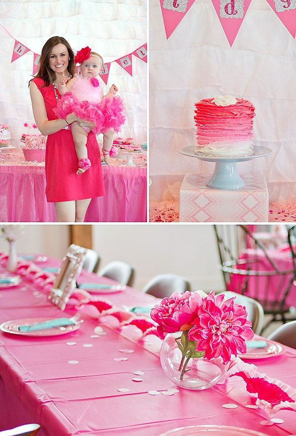 Girly pink ombre first birthday party hostess with for Baby first birthday decoration ideas