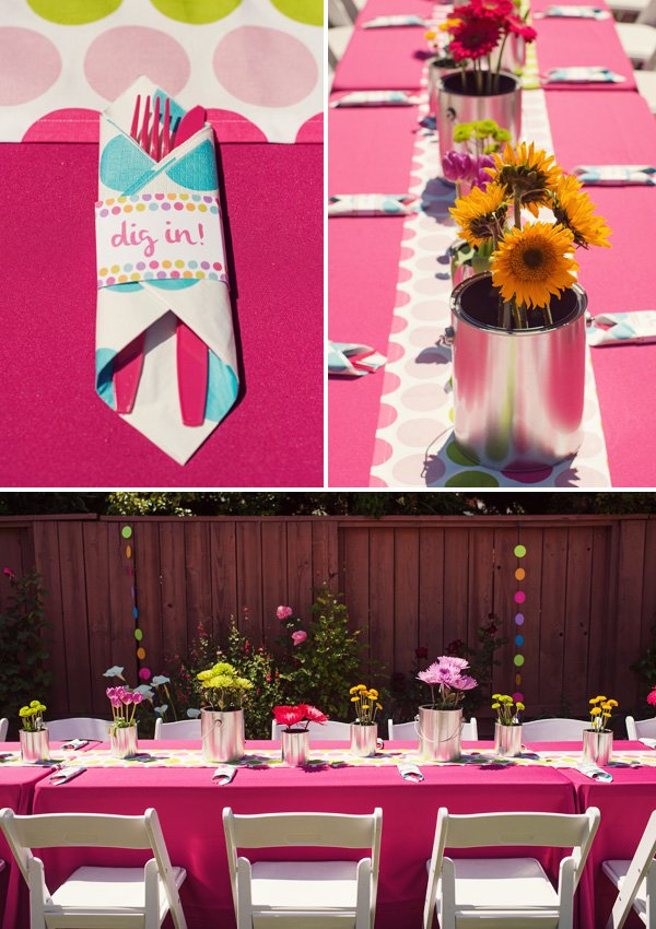 Rainbow paint & polka dot birthday party