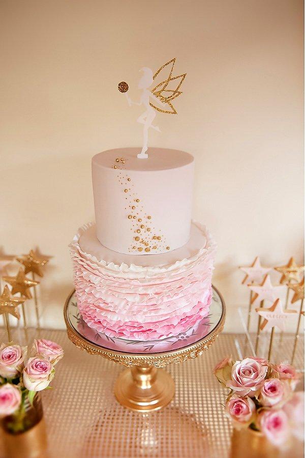 Pink & Gold Fairy Ruffle Ccake