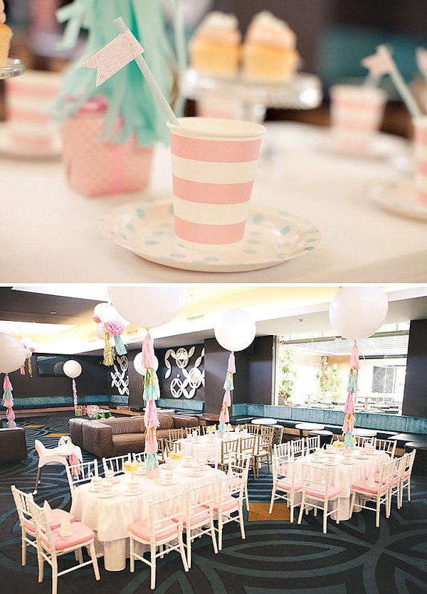 Pink stripe party cups and polka dot paper plates