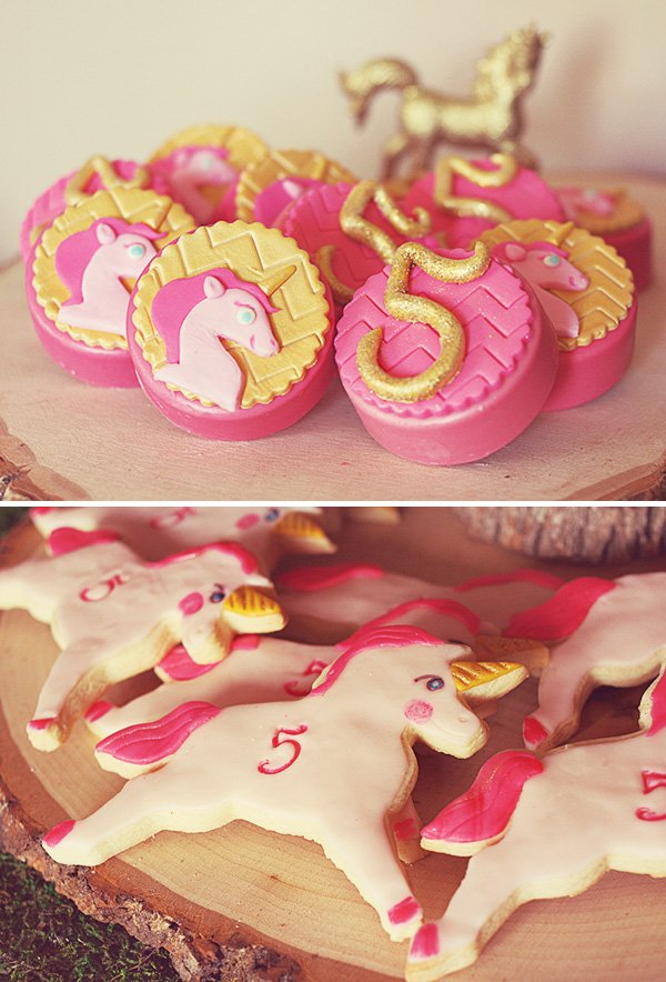 Pink & gold unicorn desserts