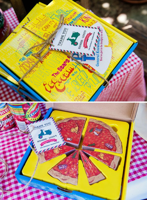 Pizza box party favors