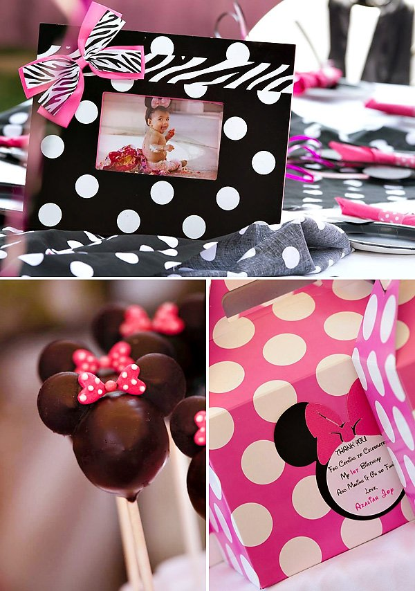 Incredible Polka Dot Pink Minnie Mouse First Birthday Party Hostess With Funny Birthday Cards Online Alyptdamsfinfo