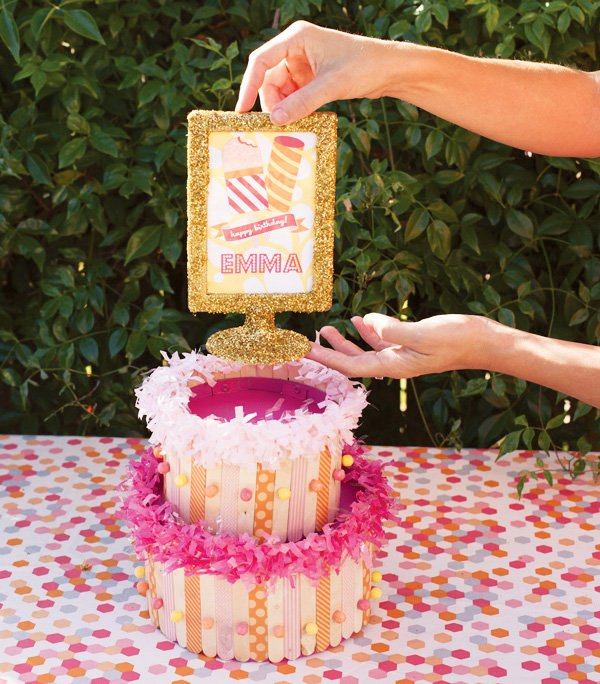 glittered frame cake topper for popsicle stick cake