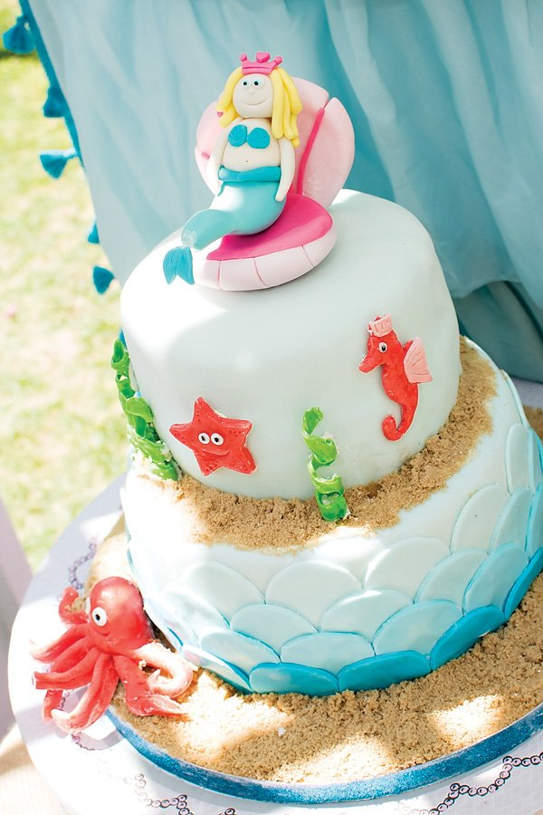 Princess mermaid birthday cake