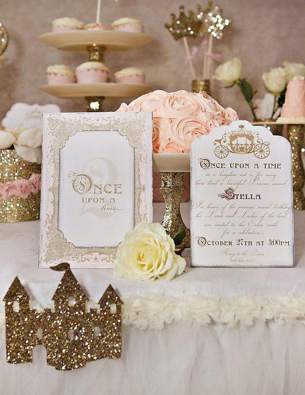 Pretty Gold Princess Party Invitation