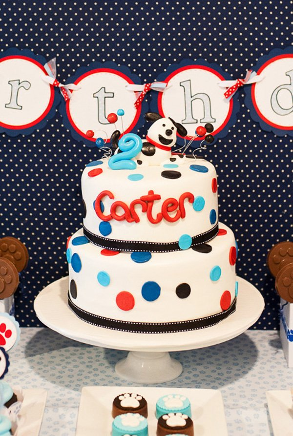 Polka Dot Birthday Cake with Puppy Dog Topper