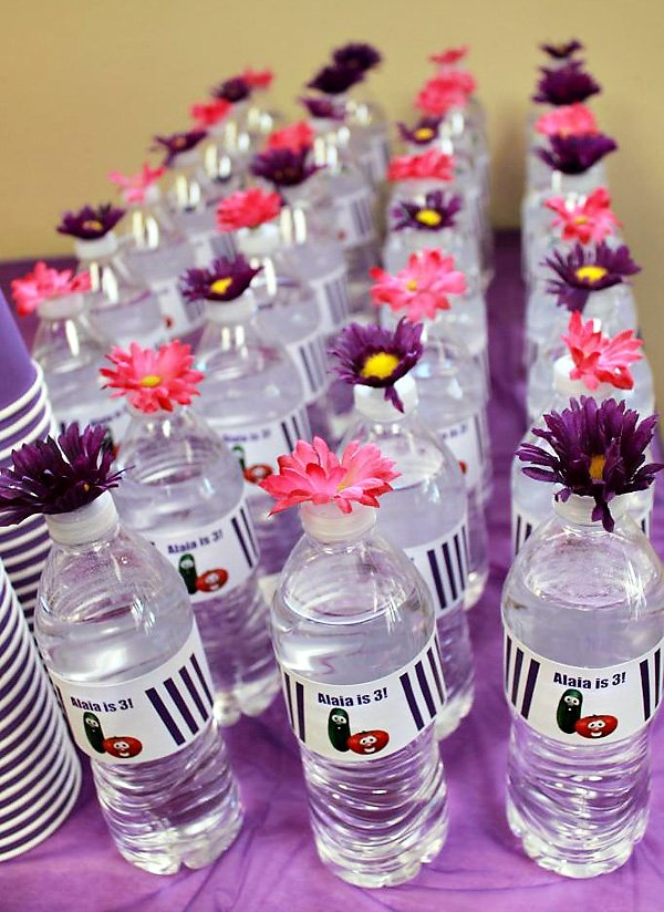 Pink and Purple Flower Bottle Toppers