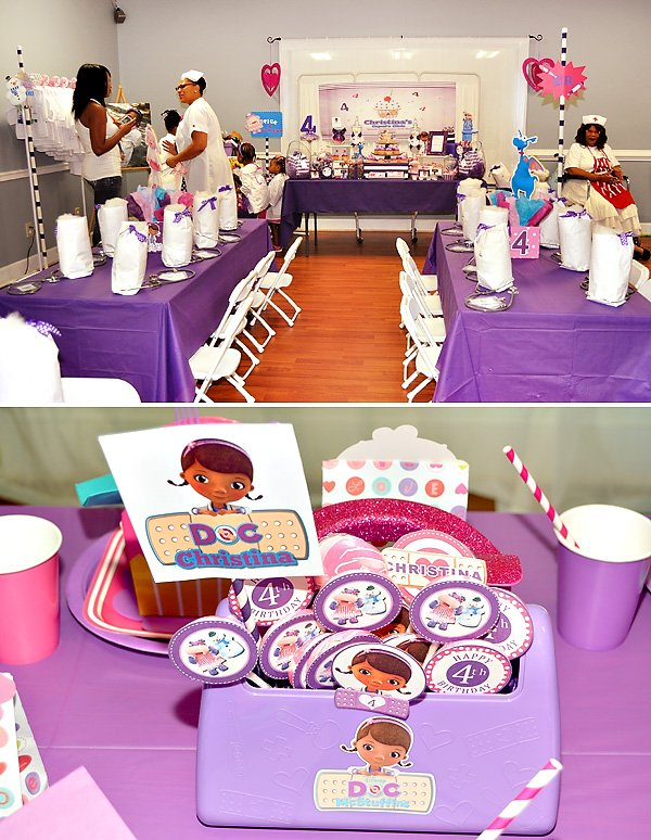 pink and purple doc mcstuffins party hostess with the mostess