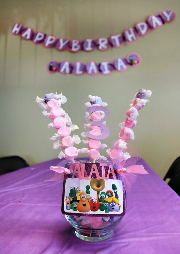 Pink and Purple Candy Centerpiece