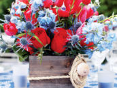 Nautical Inspired Blue and Red Centerpiece