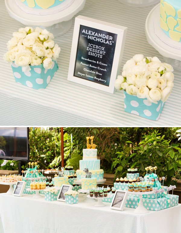 Pink and yellow safari dessert table
