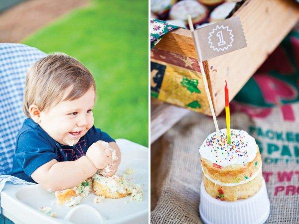 Mini Confetti Smash Cake with Flag topper