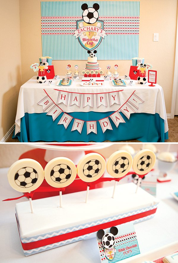 mickey mouse and soccer themed dessert table