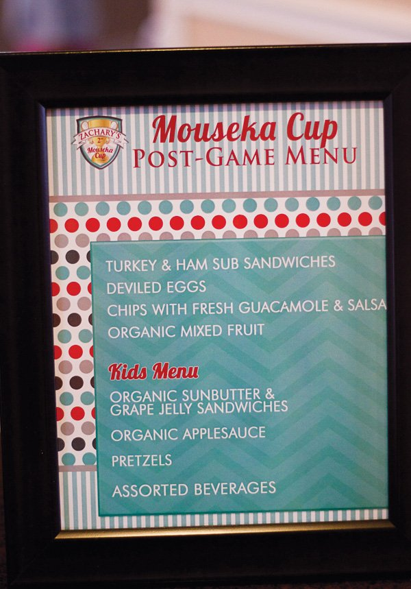 soccer party menu