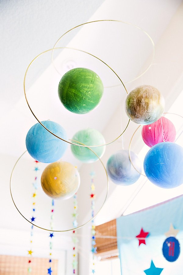 Stellar space themed birthday party hostess with the mostess - Solar system decorations ...