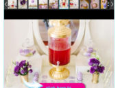 Ombre purple and gold spa party ideas