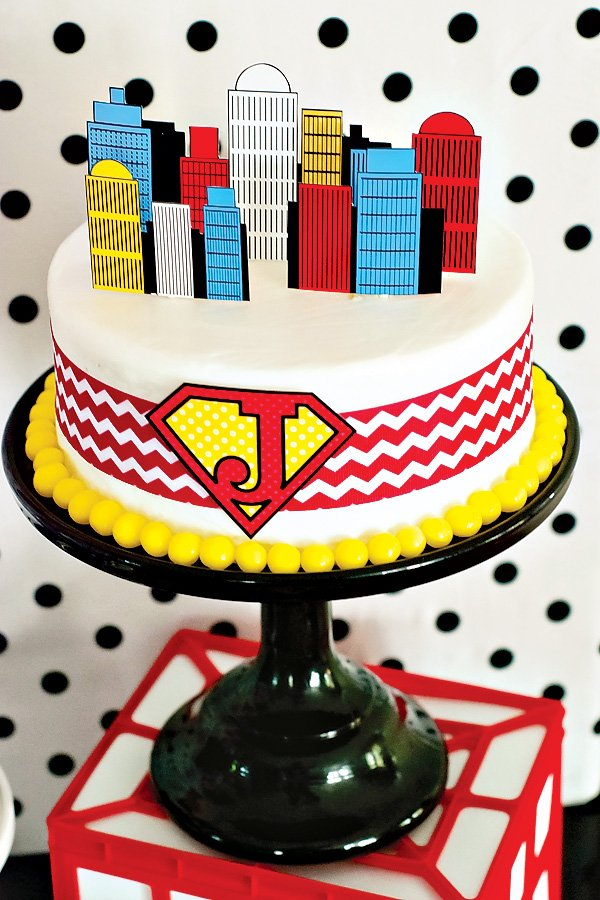 super hero party cake