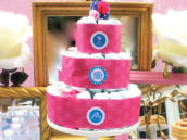 Pink tiered Diaper Cake