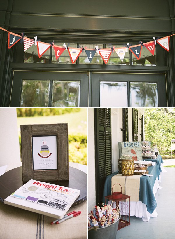 red and blue train themed birthday party