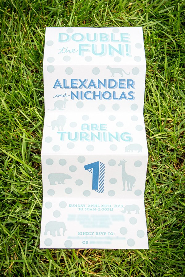 Twins wild animal birthday party invitation