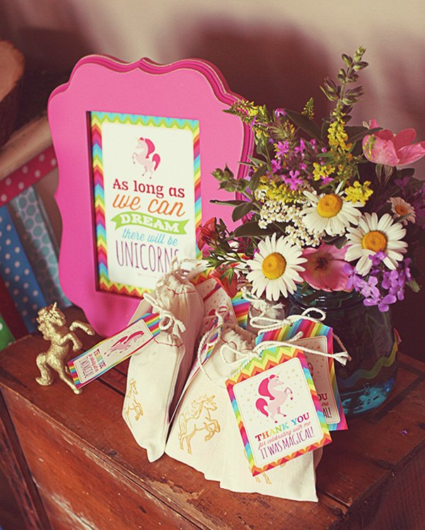 Rainbow unicorn favor bags