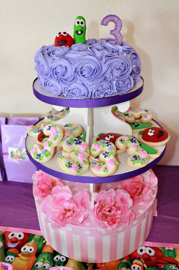 Admirable Pink And Purple Veggie Tales Theme Party Hostess With The Mostess Personalised Birthday Cards Veneteletsinfo