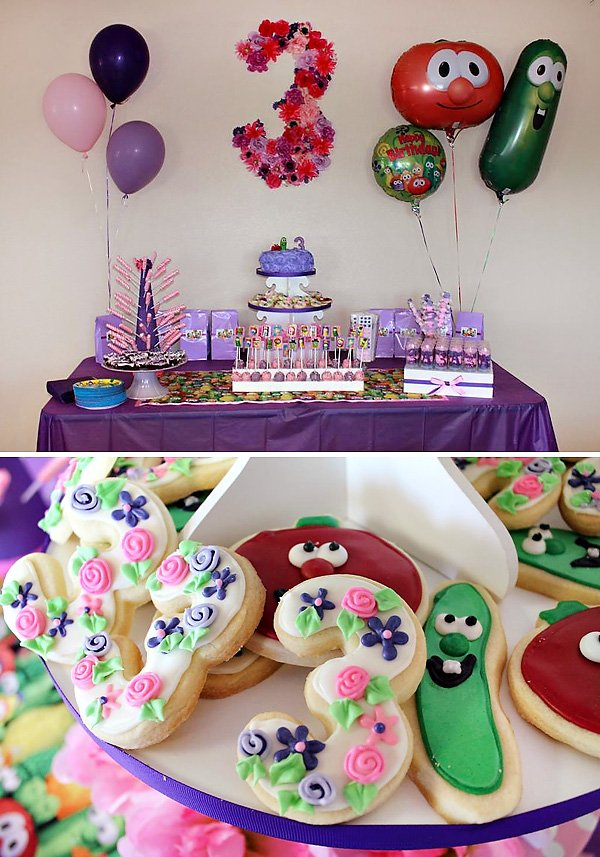 Awesome Pink And Purple Veggie Tales Theme Party Hostess With The Mostess Personalised Birthday Cards Veneteletsinfo