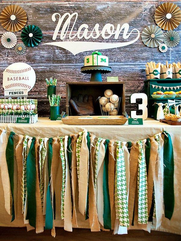 Vintage baseball dessert table