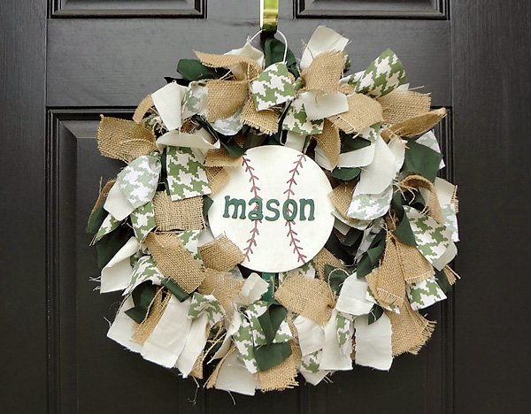 Vintage rag-tie baseball welcome wreath