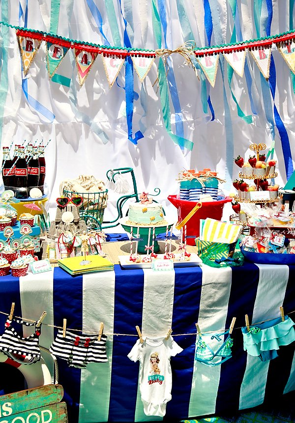 vintage beach baby shower dessert table