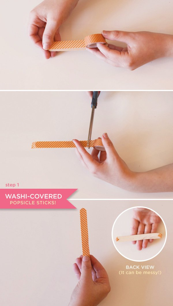 washi tape covered popsicle sticks