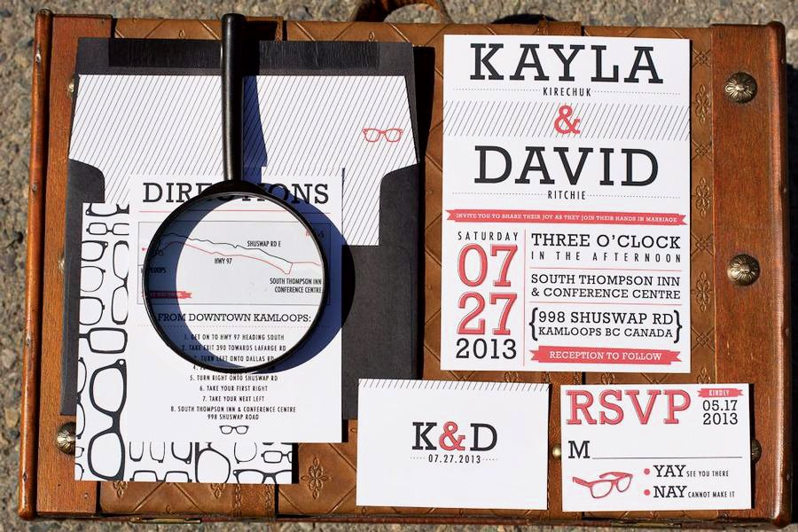 wedding invitation inspired by glasses
