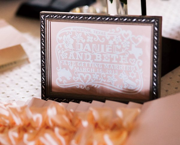 Pink wedding sign