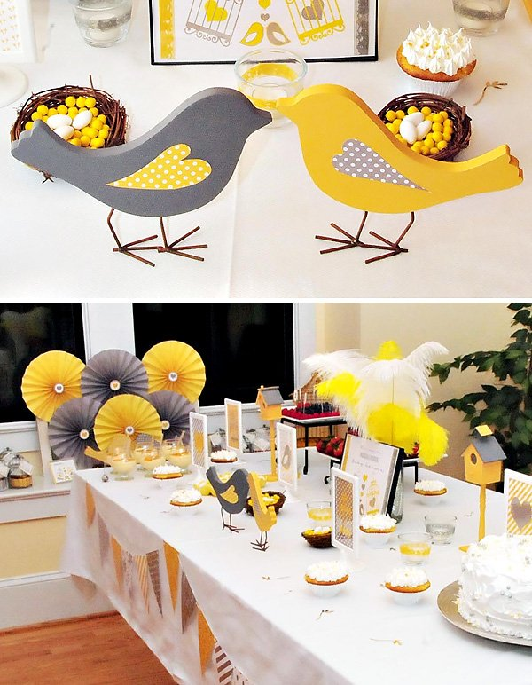 yellow and gray baby shower