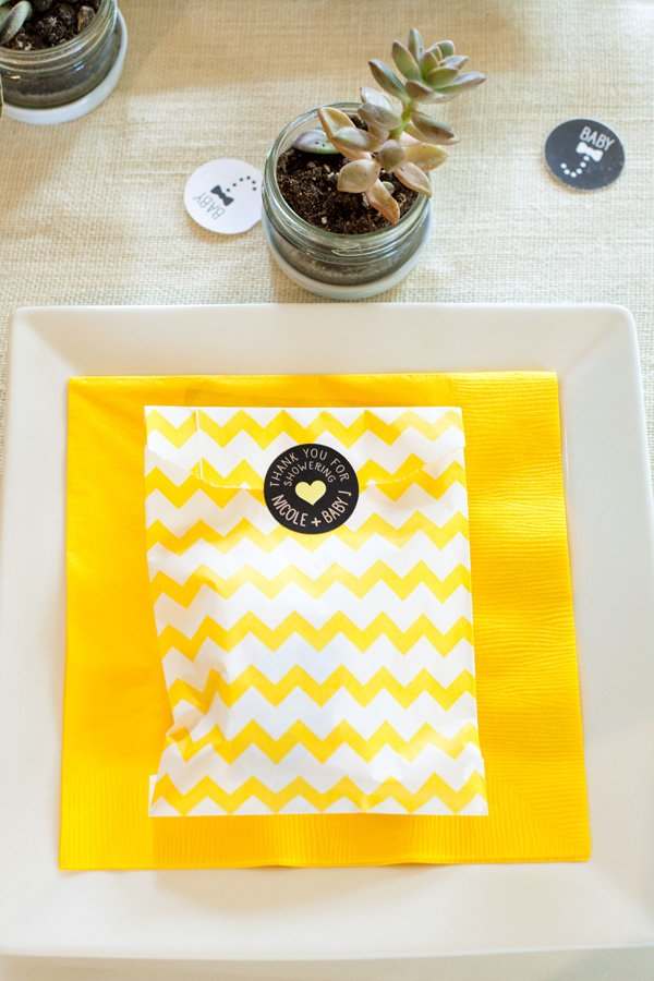 yellow chevron favor bags