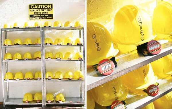 personalized yellow construction helmet party favors