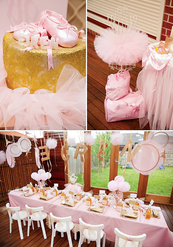 Pink and Gold Ballerina Kids Table