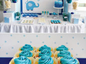 Blue Elephant Christening Dessert Table
